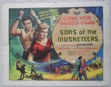 Sons of the Musketeers, Original HS Poster, Cornel Wilde, Maureen O'Hara, '52